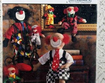 Burda 4228, Clown Dolls Sewing Pattern, Clown Pattern, Burda Stuffed Clown Pattern, Uncut