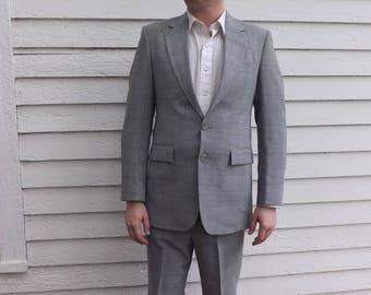 80s Mens Suit Gray 40 L 34 W Subtle Plaid