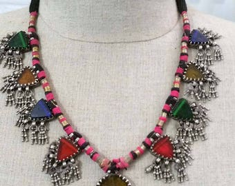 On Sale!  Antique Silver India Rajasthan glass Amulet Necklace.