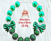 St.Patricks Day Chunky, St Patrick's Day Necklace, Bow Jewelry,St Patty's Day gumball necklace, Flower Girl Gift, Gum ball Necklace
