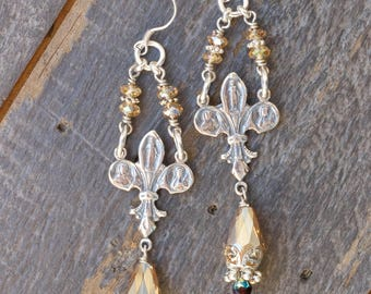 Sterling Silver Champagne Crystal Earrings