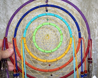 ALL My RELATIONS - OOAK Rainbow Concentric Rings Chakra Dreamcatcher by Feathered Dreams