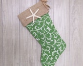 On Sale Coastal Holiday Stocking with Starfish for your Beach House