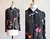 Vintage KENZO sheer floral blouse