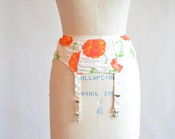 Vintage FLORAL print garter belt
