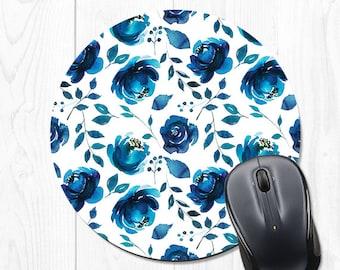 Mouse Pad Mousepad Blue Mouse Pad Floral Mouse Pad Office Desk Accessories Cubicle Decor Office Decor Office Decorations Office Supplies