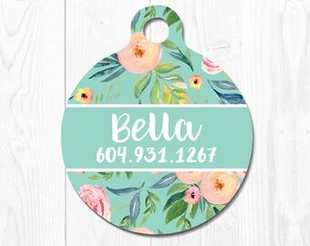 Cat ID Tag Cat Tag Dog Tag Dog Tags for Dogs Mint Pet ID Tag Custom Pet Tag Floral Dog Tag for Collar Puppy Tag Dog Collar Tag Personalized