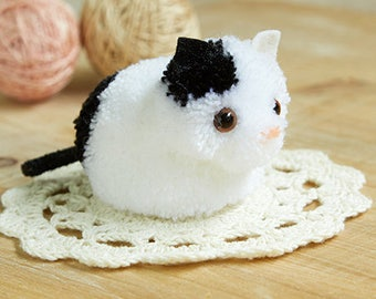 Little White Cat Pom pom DIY Kit - Japanese Craft Kit H363-167