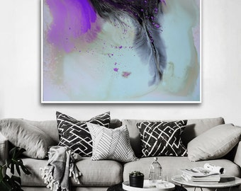 Violet and blue abstract print from original Painting, blue gray Modern Painting, Abstract Painting, purple print art, liquid painting