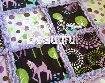 Ready To Ship Woodland Toddler Rag Quilt, Purple Rag quilt, Girl Blanket, Baby Quilt, Toddler Quilt, Deer Blanket