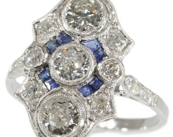 Platinum diamond and sapphire Art Deco engagement ring old European cut diamonds blue sapphires 1920s wedding jewellery