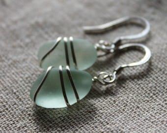 Genuine Sea Glass Earrings - Vintage Seafoam Blue Seaglass Earrings Wire Wrapped