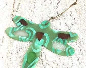 Dragonfly sea glass sun catcher ornament polymer with hand picked sea glass
