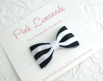 Nautical Baby Bow Headband ~ Navy and White Striped Sailor Bow ~ Infant, Toddler, Girls