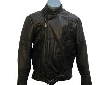 Vintage Biker Jacket Mens Hein Gericke Designed for Harley Davidson Black Leather Motorcycle Jacket Mens US Size 46 1980s Cyber Punk Jacket