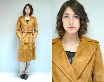 Suede Trench Coat  //  70s Leather Coat  //  THE CHAMOIS
