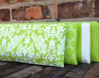 Lime Wristlet{s}, Lime Bridesmaids Custom Made Wristlet{s}, Bridesmaids Gifts,  Custom Made Bridesmaids Clutches, Lime Wedding