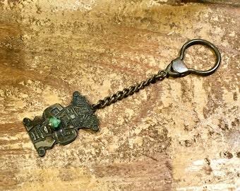 Vintage Raw Emerald Key Chain / Peruvian / Inca / Aztec