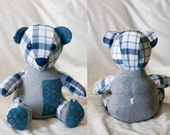 CUSTOM LARGE Melody Memory Bear - Stuffed Memory Bear - Memory Bear - Custom Bear - Funky Friends Factory Calico Bear