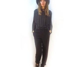 Vintage 80s black and white polka dot romper jumpsuit // playsuit catsuit flight suit pantsuit onesie // size 8 small medium // spring