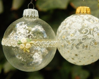 Vintage 70s-80s German Clear Glass Ball Christmas Ornaments Retro Shabby Chic