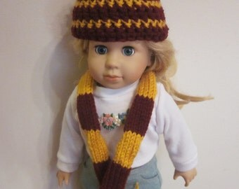 Harry Potter Gryffindor Hat and Scarf set for American Girl Dolls- 18 inch dolls