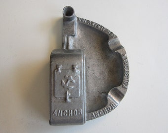vintage advertising ashtray - ANCHOR Kolstoker New Albany Indiana - automatic coal burner advertising piece, forged aluminum