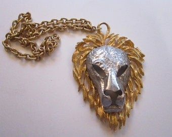 vintage LION HEAD necklace - zodiac Leo, statement piece, two-tone lion head pendant - large lion's head pendant on chain