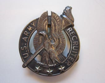 "vintage three star US Army Recruiter badge - 3 pin badge - 2.25"" x 3"""