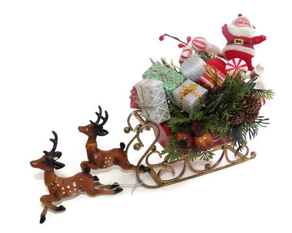 Vintage christmas ornaments santa sleigh reindeer metal wood