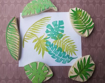 Palm Fronds and Ferns - Set of 5 - plants, rubber stamp