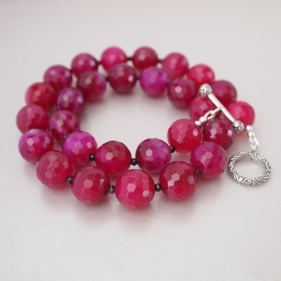 Shaded Hot Pink Agate Sterling Silver Beaded Necklace, Chunky Beaded Necklace, Agate Beaded Necklace,