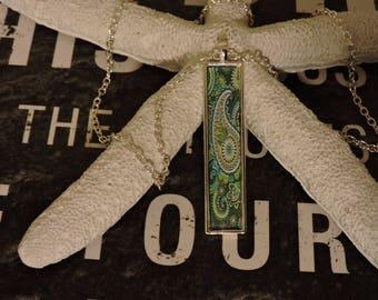 Pasiley Necklace, Paisley Pendant, Bezel Pendant, Silver Pendant, Rectangle Pendant,