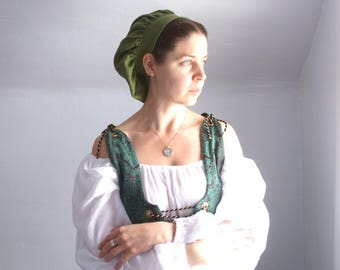 renaissance muffin cap hat medieval caul green linen renaissance faire -ready to ship-