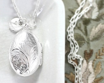 Sterling Silver Locket Necklace, Oval Pendant with Custom Initial Charm and Special Patterned Drawn Cable Chain - A Portrait Pendant
