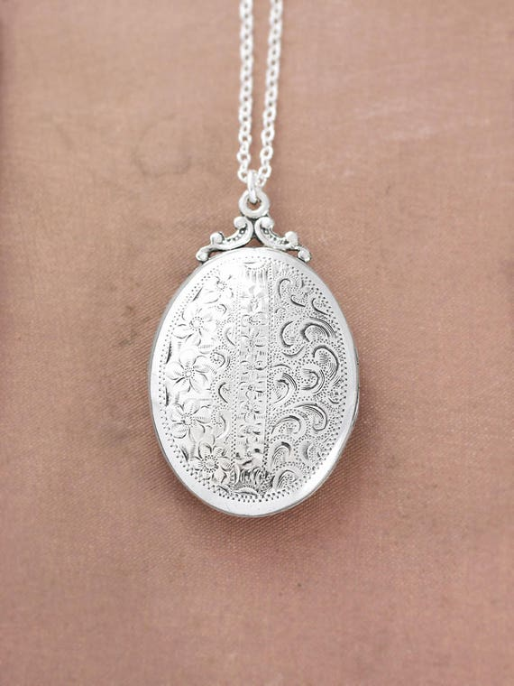 Rare Sterling Silver Locket Necklace, Vintage Swirl Engraved Large Oval Picture Pendant - Classic Whimsy