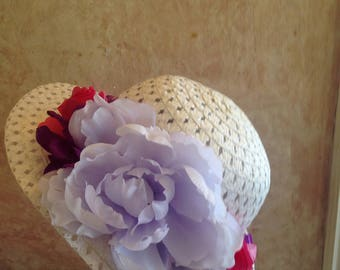Girls tea party hat - Easter Hat  - Straw Hat