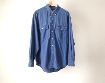 Y2K DOCKERS prep school dropout deep blue NIRVANA 90s DENIM mens vintage shirt