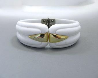 Vintage Bracelet White with Gold Faux Carved Bakelite style Clamper Bracelet
