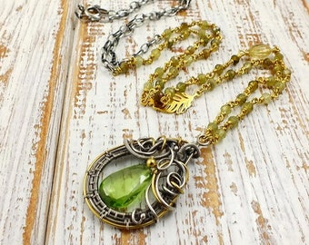 Wire wraped necklace, green pendant, long silver necklace, gold plated jewelry