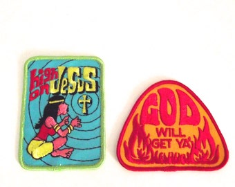 Vintage Christian Patches, Two Patches with Funny Religious Slogans