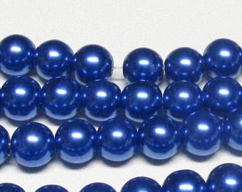 12mm Navy-02 Glass Pearls- One strand- High Quality 12mm Glass Pearls #12N-02GP