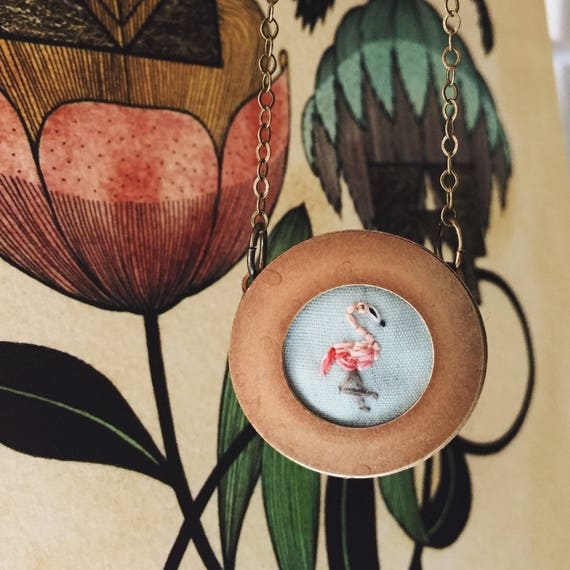 Flamingo- hand embroidered necklace