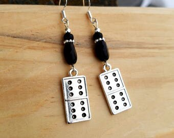Black Domino Earrings,  Silver and Black Domino Sterling Dangle Earrings, Silver Domino Dangle Earrings, Black Domino Earrings