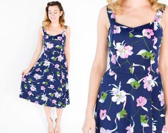70s Navy Floral Summer Dress   Blue Print Swim Dress   Medium