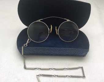 Antique 1930's PINCE NEZ with Chain and Case