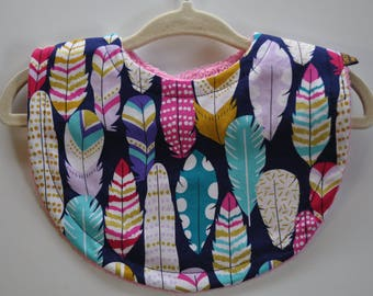 Baby Girl Navy Blue Gold Hot Pink Teal Feathers Terry Cloth Snap Bib