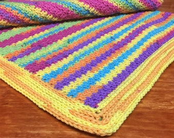 Hand Crocheted Baby Blanket/Afghan in Bright Colors