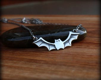 Bat necklace, Sterling silver bat jewelry