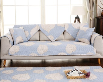 Heart Leaves Sofa Cover Couch Slipcover Loveseat Cover Cotton Sky Blue Beige Home Decor